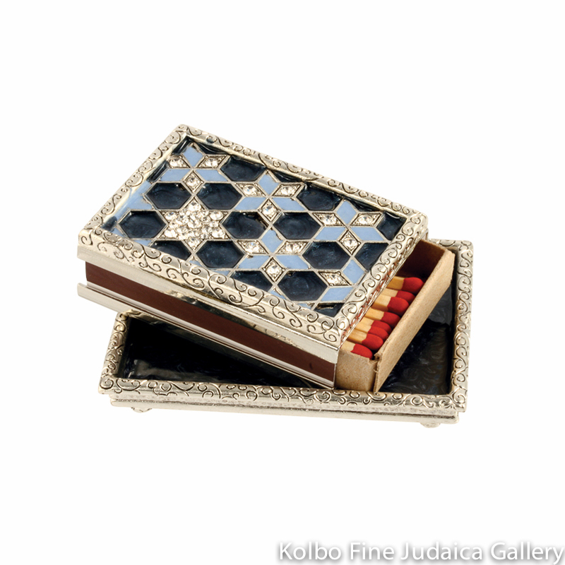 Matchbox Holder and Tray, Blue Star Design, Pewter with Enamel and Swarovski Crystals