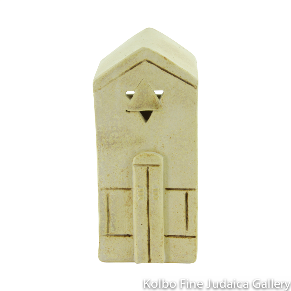 Tzedakah Box, Medium Shul Design, Ceramic with Matte Glaze