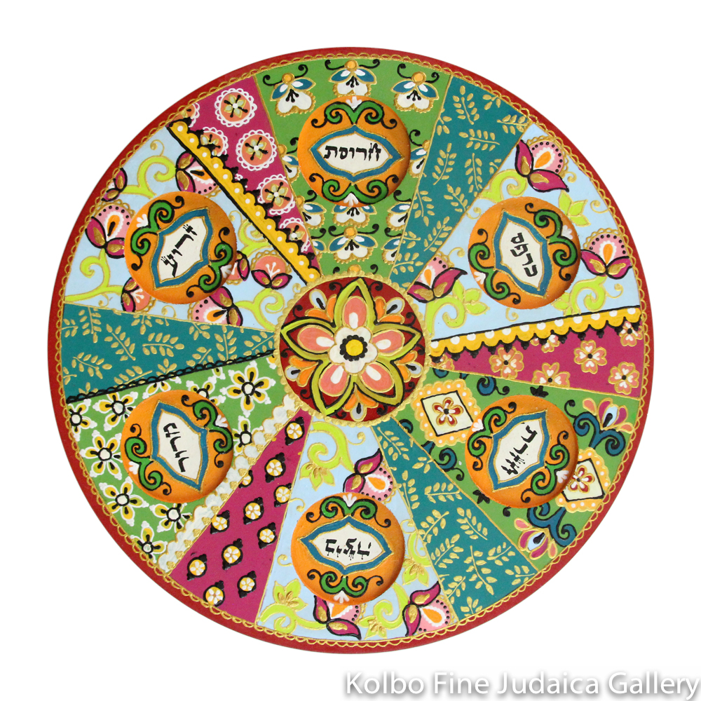 Seder Plate, Hand-Painted Wood with Glass Bowls, Floral and Wheat Patterns in Greens, Pinks, and Oranges, Round