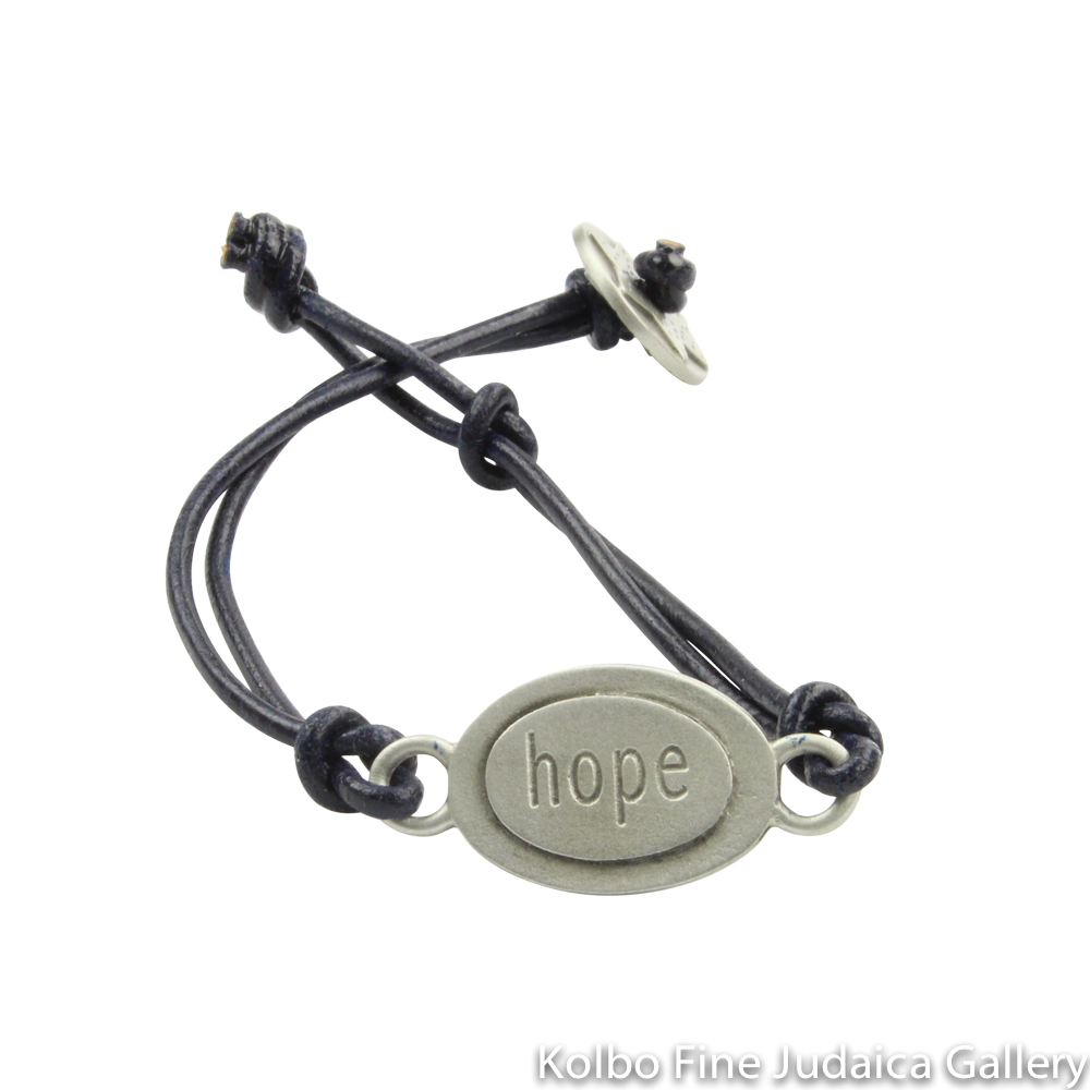 Bracelet, Hope Design in Hebrew and English, Pewter with Leather Cord