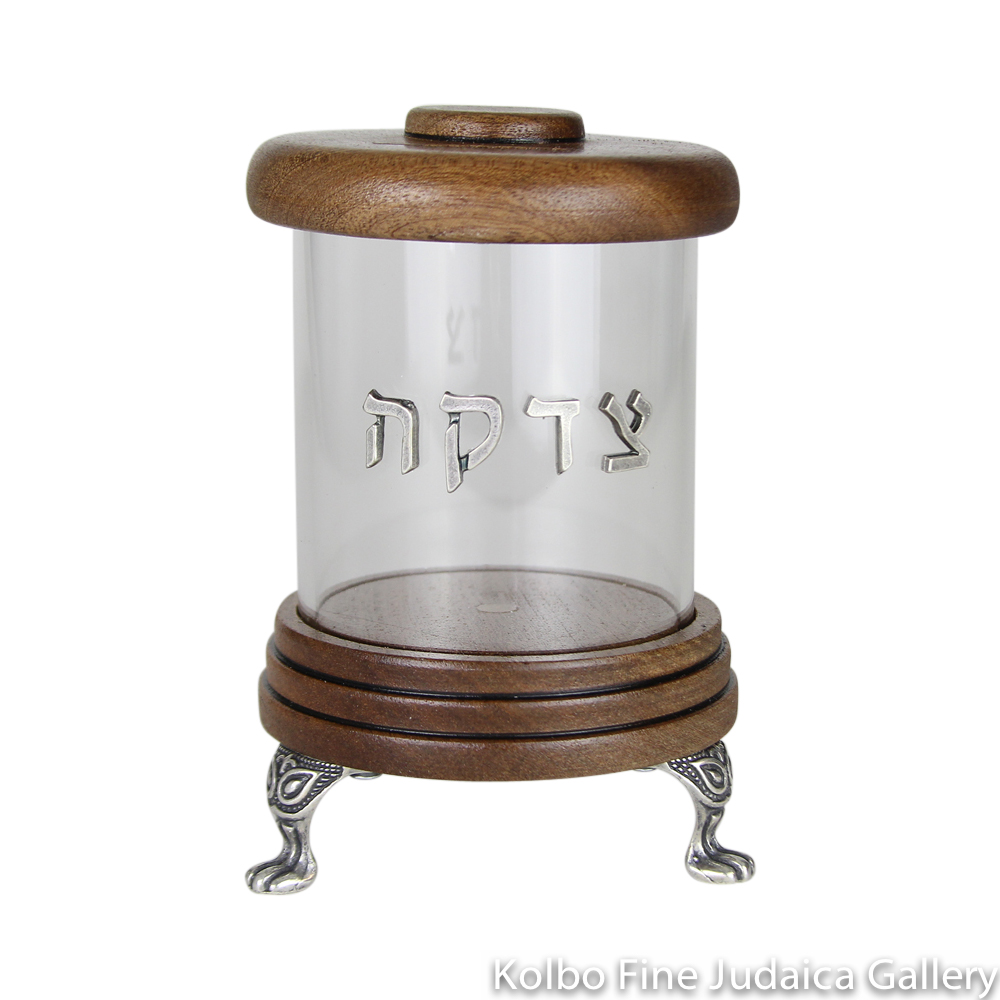 Tzedakah Box, Cylinder Design, Wood with Lucite and Pewter