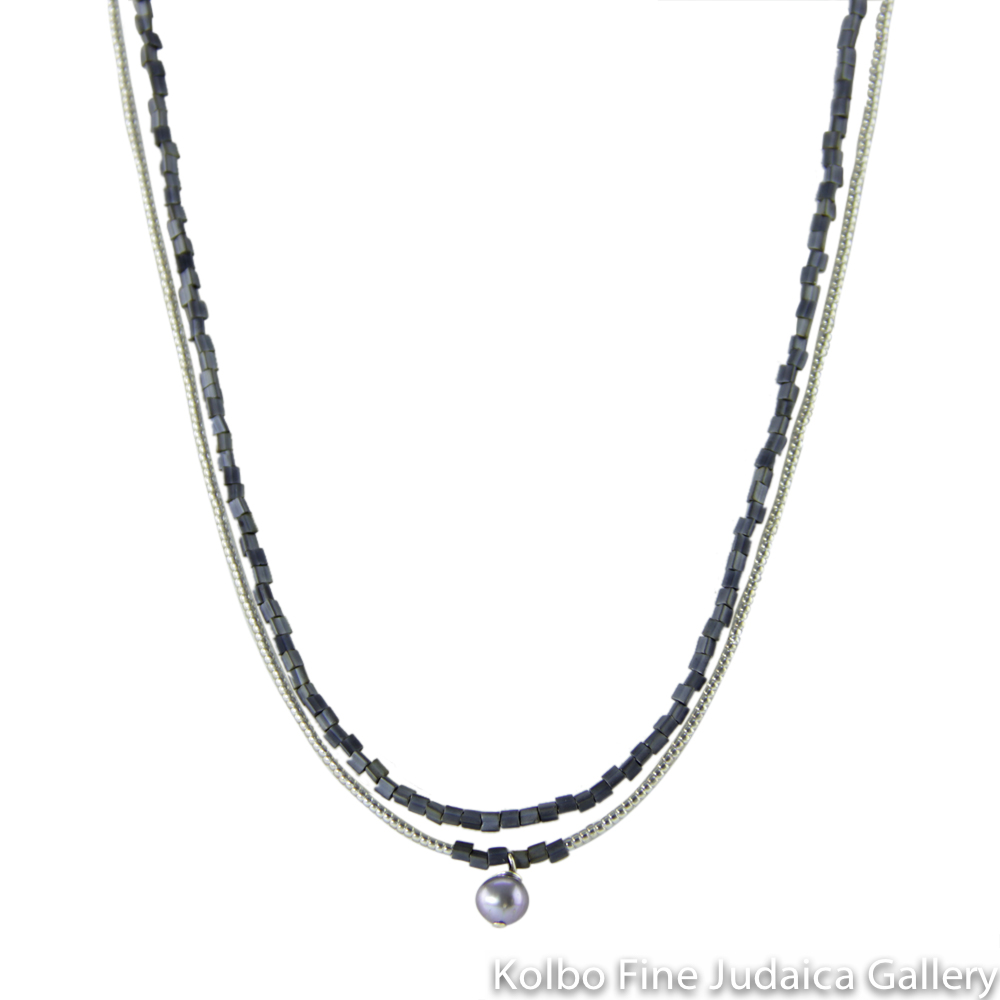 Necklace, Double Strand, Blue Glass and Toho Beads, Blue Pearl Center Drop