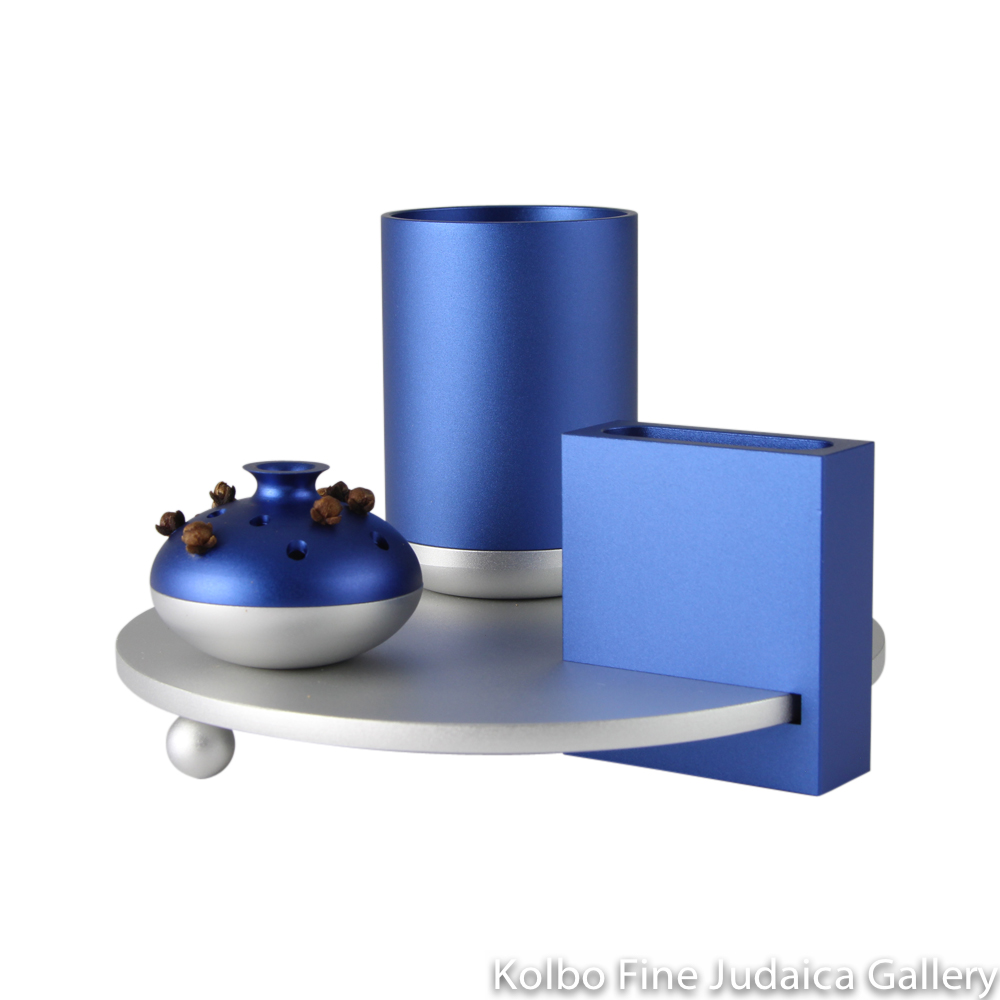 Havdalah Set, Blue and Silver Modern Design, Anodized Aluminum