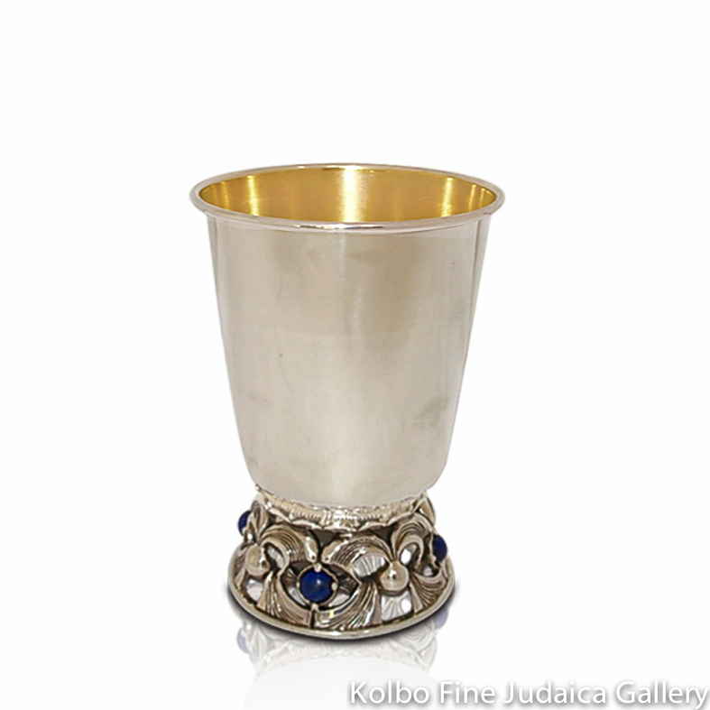 Kiddush Cup, Sterling Silver, Short Stem with Choice of Stones