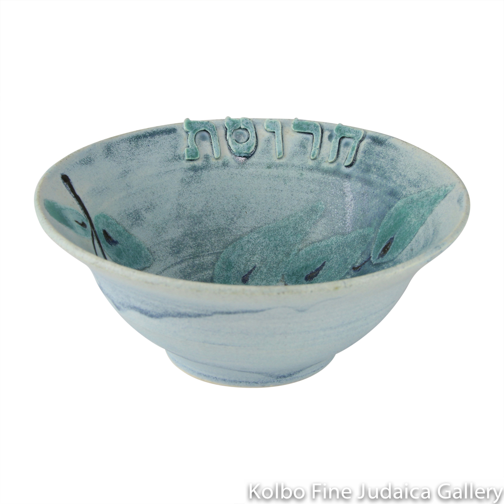 Charoset Bowl, One-of-a-Kind Ceramic, Blue Glaze With Leaf Design