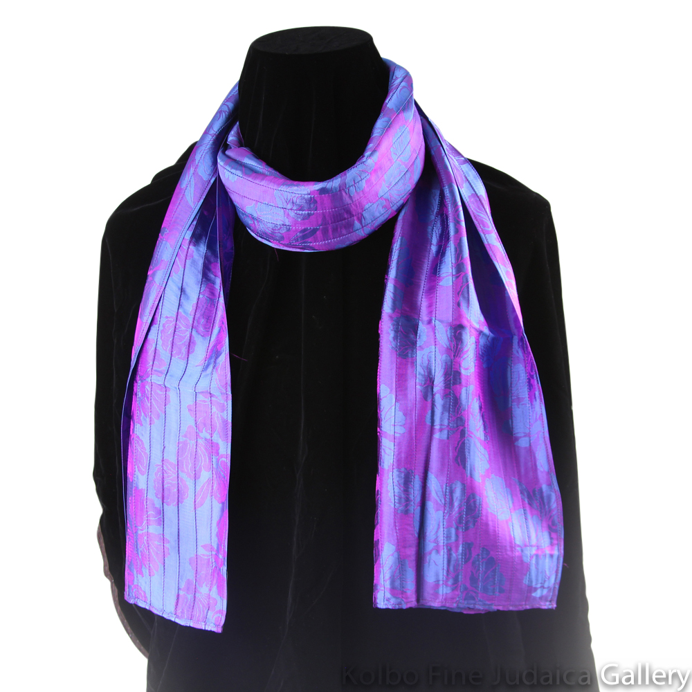 Scarf, Blue and Magenta Pin-Tucking, Silk, Hand-Made