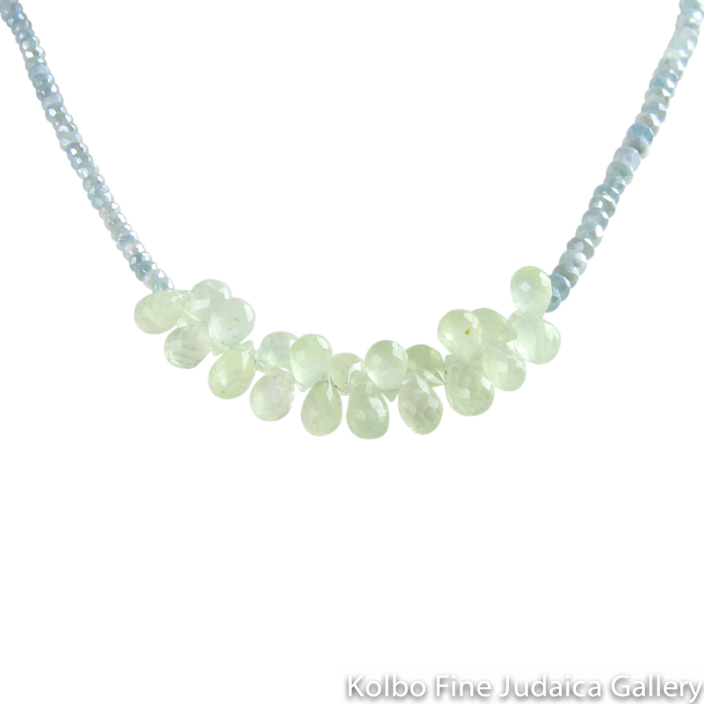 Necklace, Small Blue Moonstone Rondells with Center Prehnite Briolettes, 17.5""
