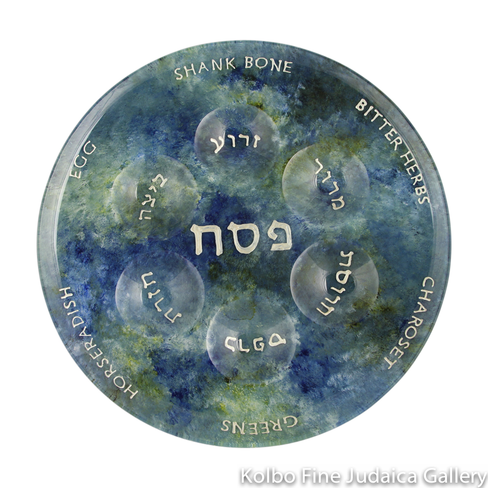 Seder Plate, Hand-Painted Glass with Blue and Green Tones, Round