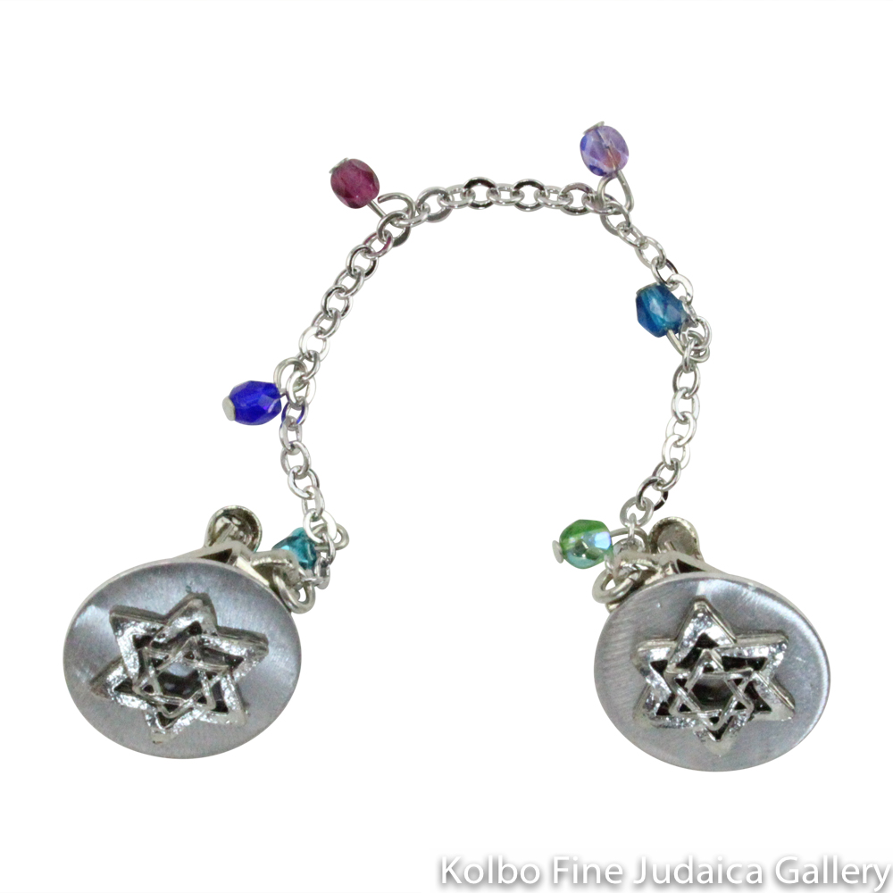Tallit Clips, Silver-Colored Stars, Jewel Tone Beads Dangling