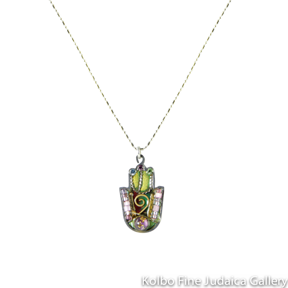 Necklace, Hamsa in Green and Pink, Resin on Stainless Steel with Crystals and Beads