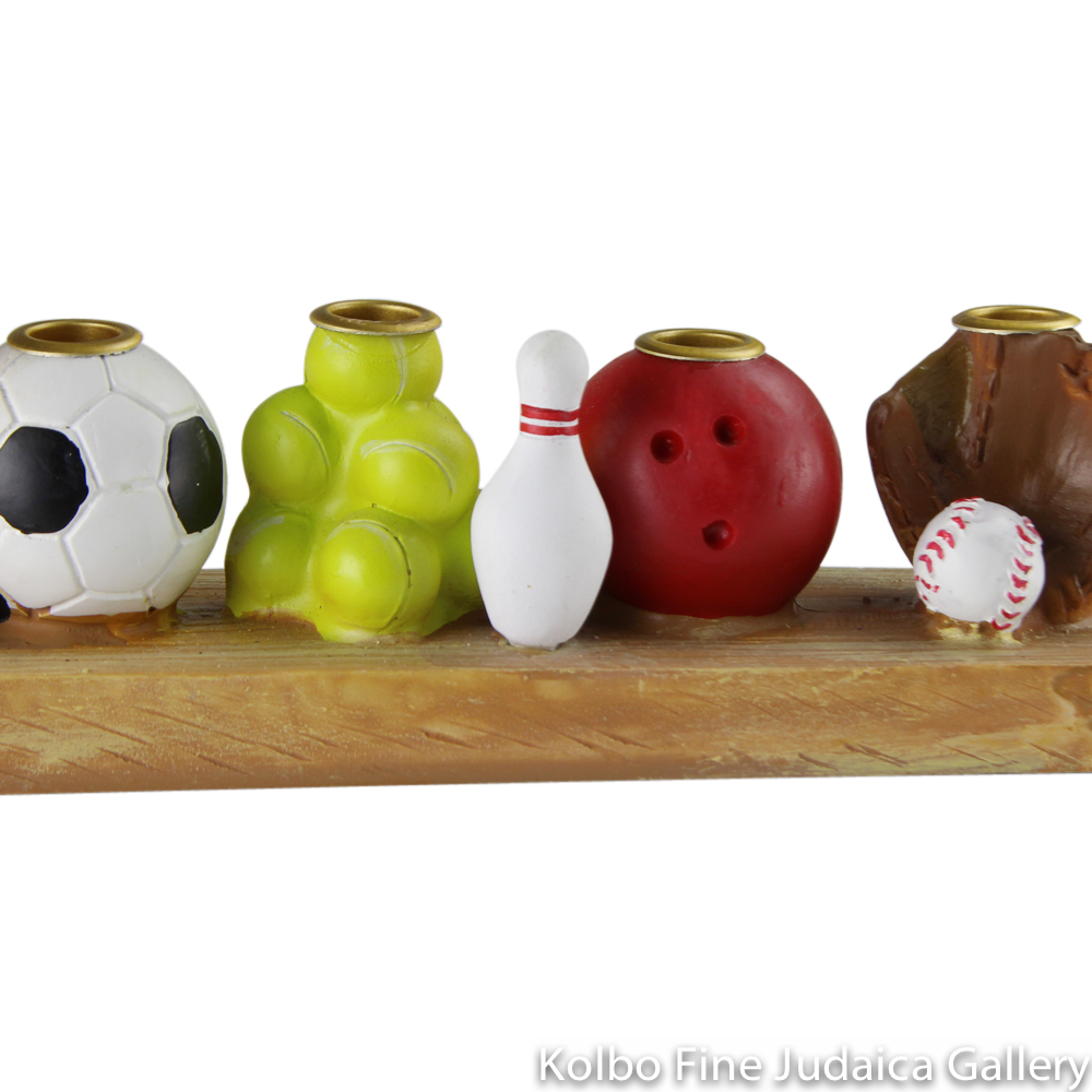 Menorah, Sports Design, Hand Painted Resin