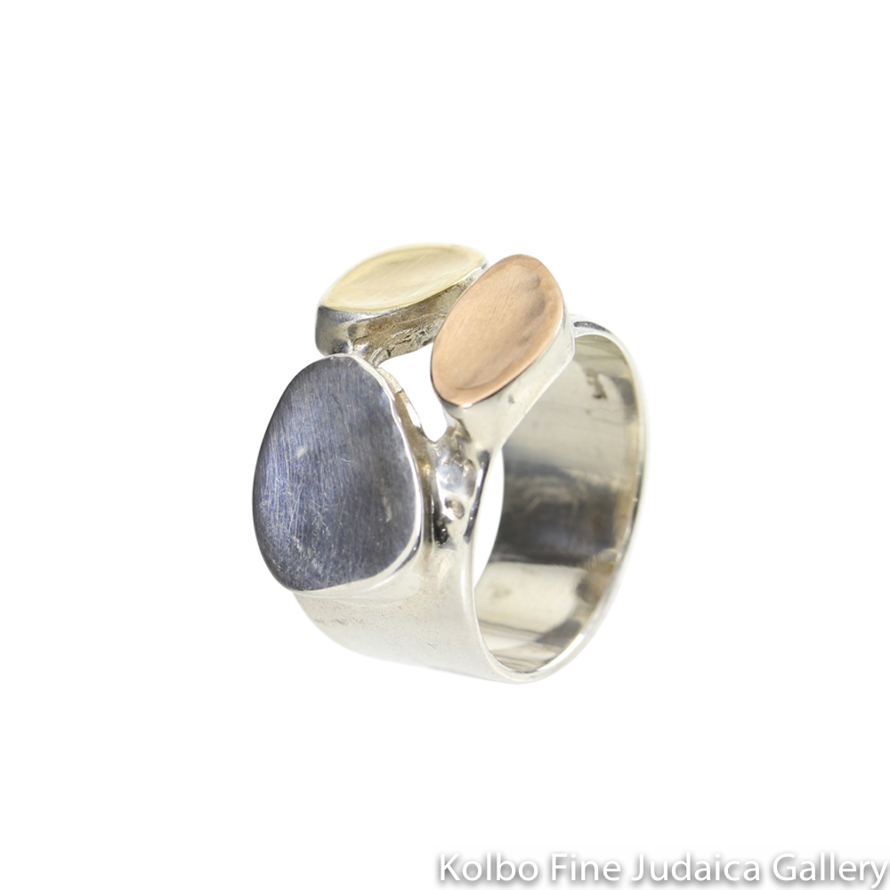 Ring, Freeform Shapes with 9K Gold, Rose Gold, and Sterling Silver
