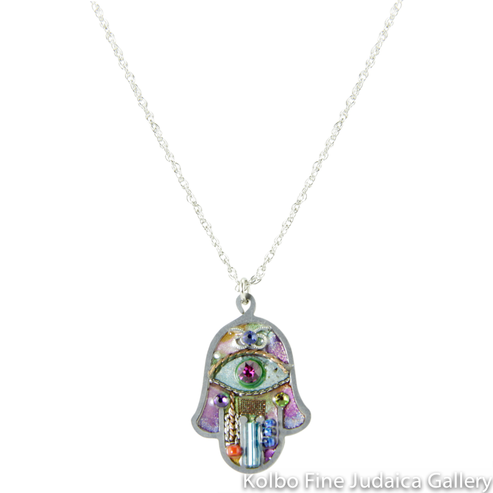 Necklace, Hamsa in Pastels, Resin on Stainless Steel with Crystals and Beads