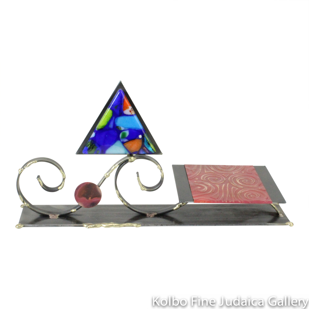 Matzah Plate, Steel, Glass, Wave Design with Fused Triangle