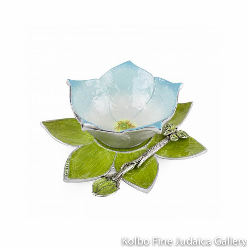 Honey Dish, Light Blue Hand-Painted Flower on Leaf Plate Set, Pewter with Enamel