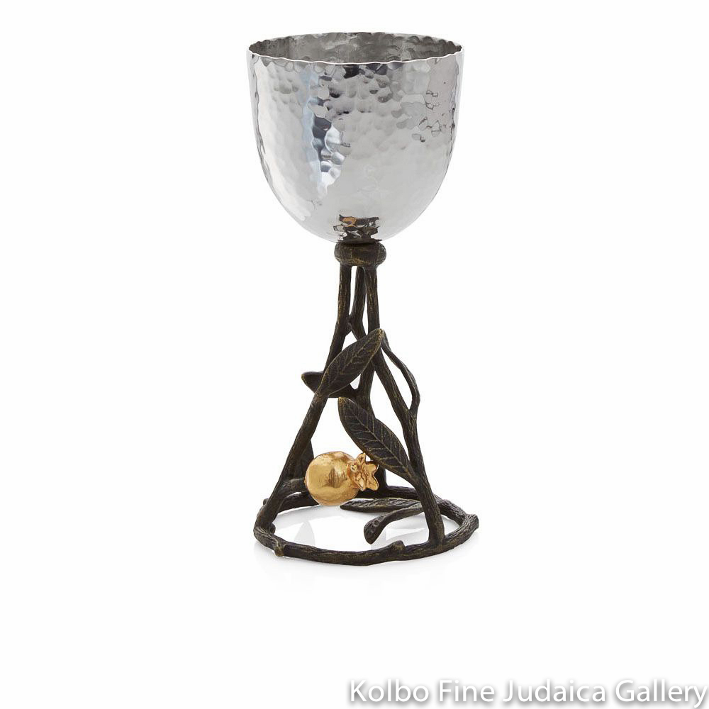 Kiddush Cup, Pomegranate Design, Stainless Steel, Oxidized Brass, 24k Gold Plate