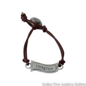 Bracelet, Imagine Design in Hebrew and English, Pewter with Leather Cord