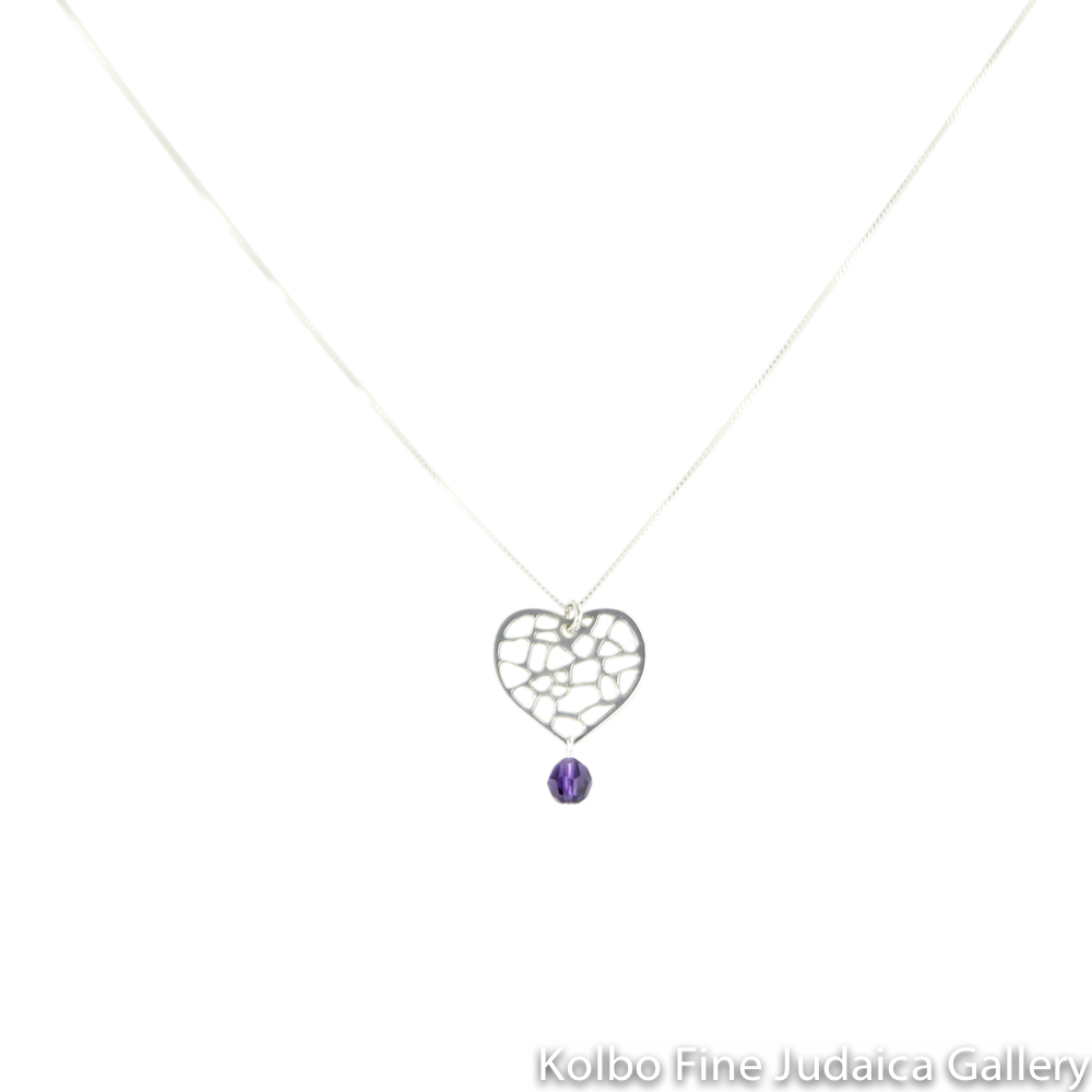 Necklace, Lacy Heart Design, Metal Cut Out, Purple Swarovski Crystal and Sterling Silver