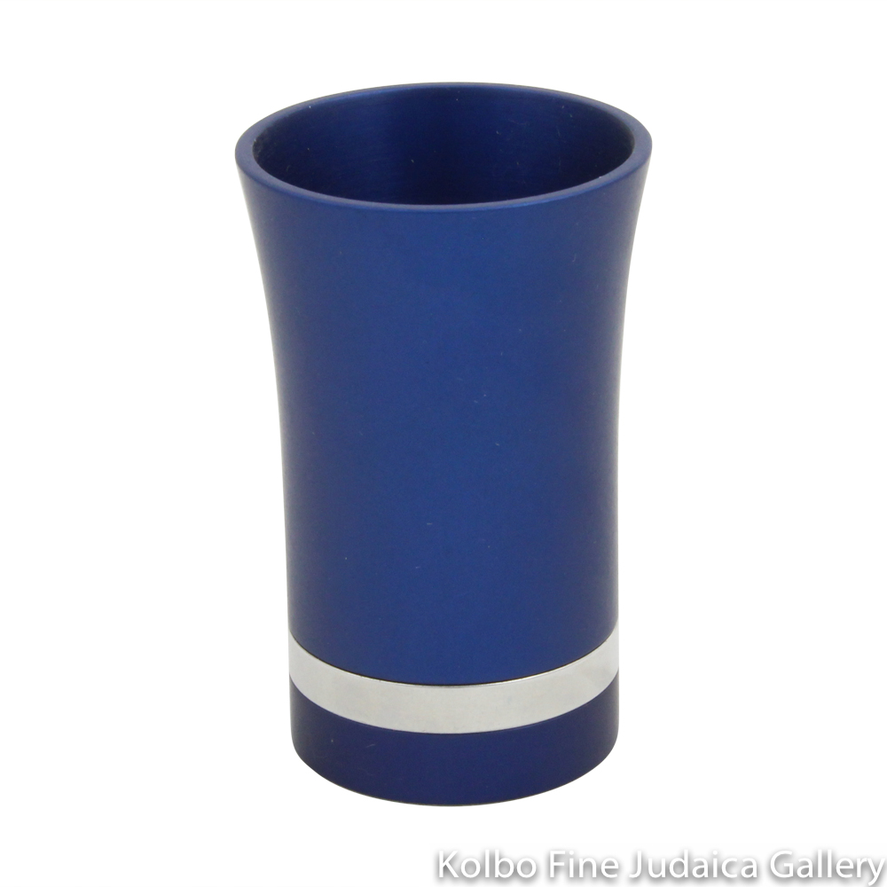 Child's Kiddush Cup, Modern Anodized Aluminum Design, Dark Blue with Silver Ring