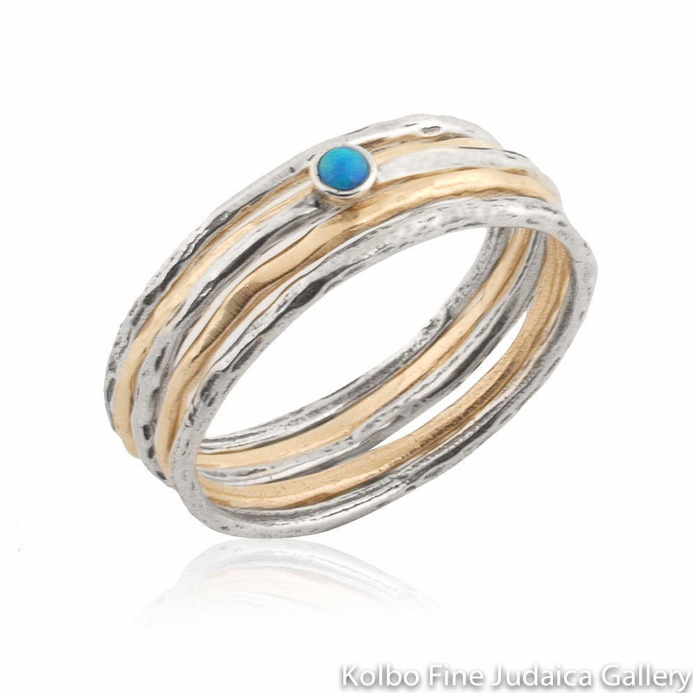 Ring Set, Thin Hammered Bands, Gold-Filled, Sterling Silver, and Single Opal