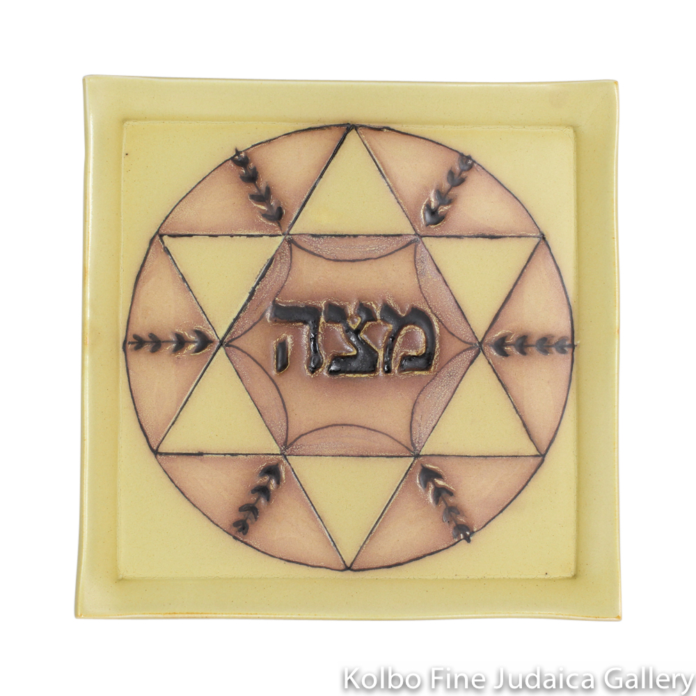 Matzah Plate, Yellow Background, Hand-Built and Hand-Painted Ceramic