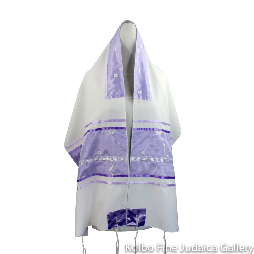 Tallit Set, Lavender Floral Design on White, Viscose