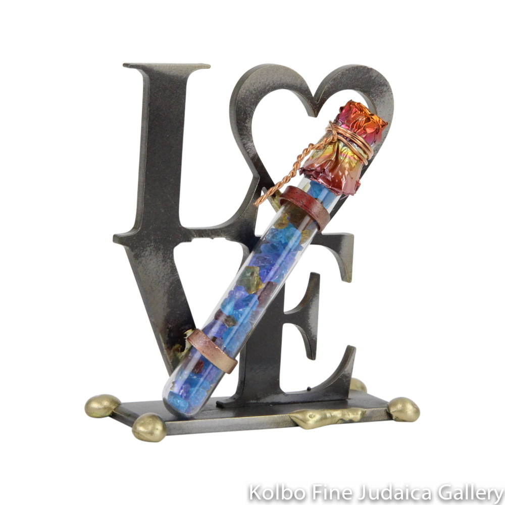 Wedding Keepsake, Tabletop LOVE Sculpture, Mixed Metals with Tube for Broken Wedding Glass Shards, Small