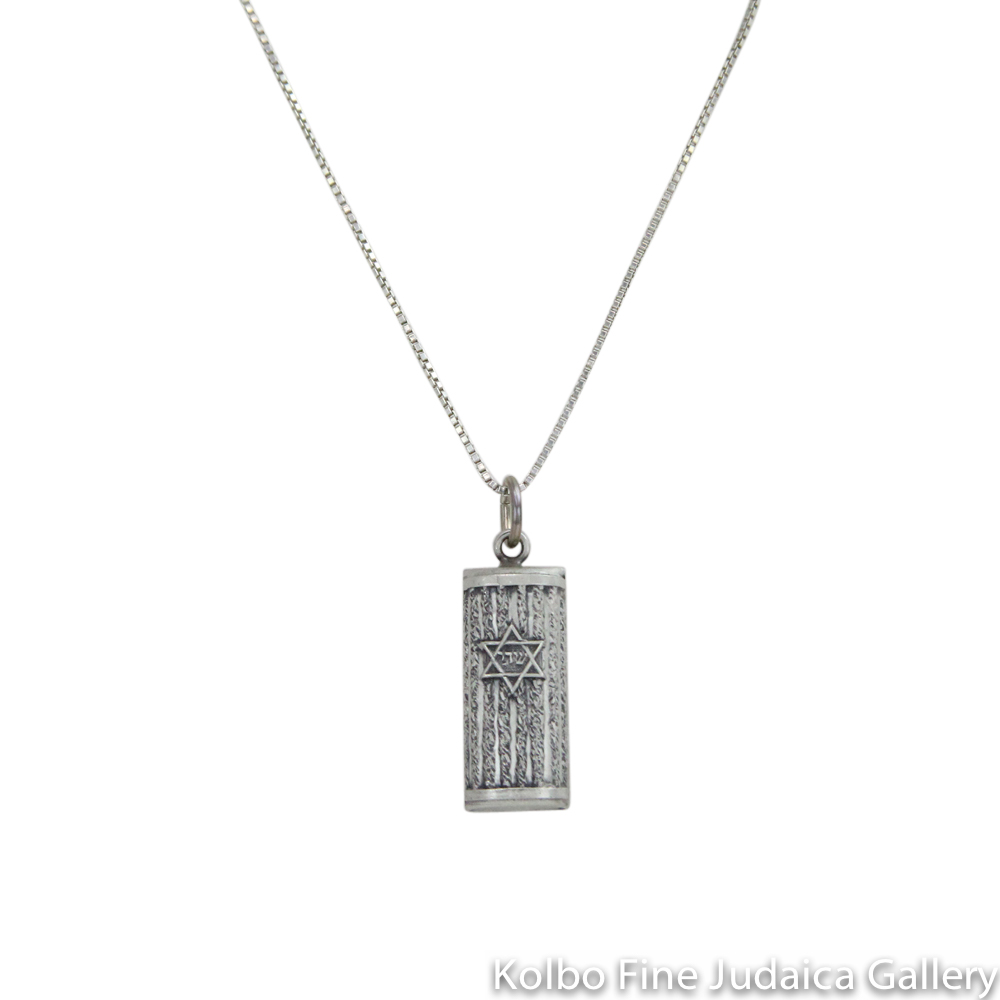 "Necklace, Mezuzah, Textured Design with Oxidized Sterling Silver, 20"" Oxidized Silver Chain"