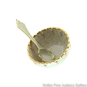 Serving Dish and Spoon, Mini Mint Design, Hand-Painted Enamel over Pewter