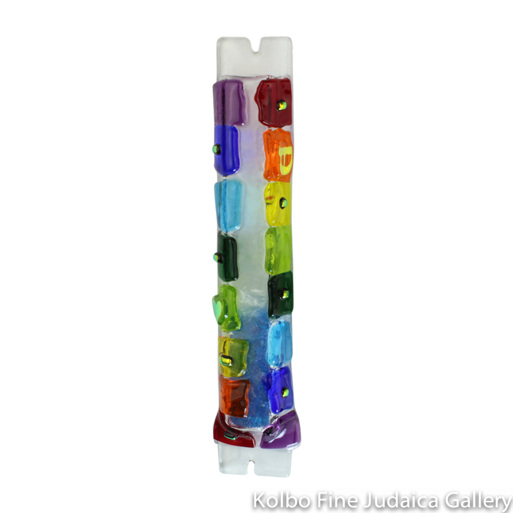 Wedding Glass Mezuzah, Rainbow Block Design, Fused Glass