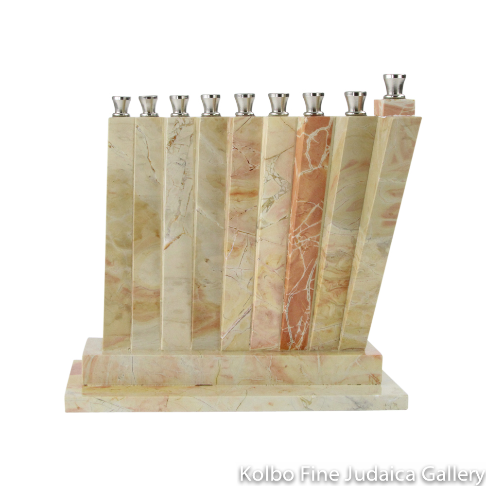 Menorah, Vertical Leaning Slats of Jerusalem Stone