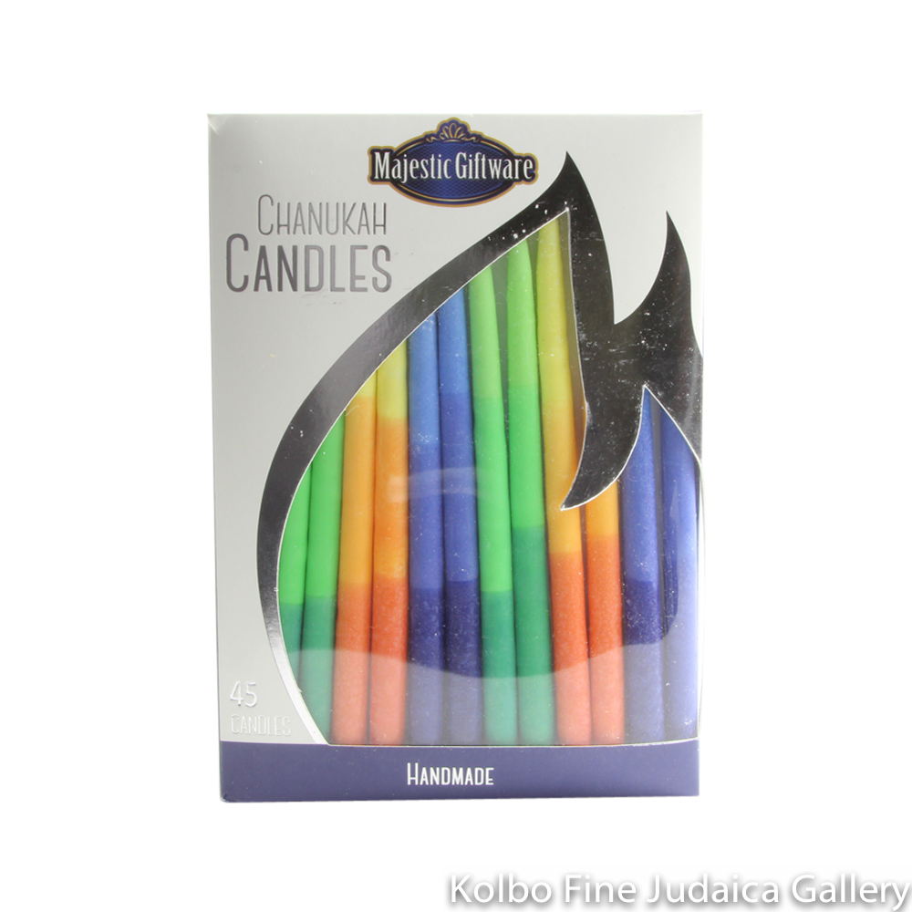 Chanukah Candles, Vibrant Multi Color, Dripless