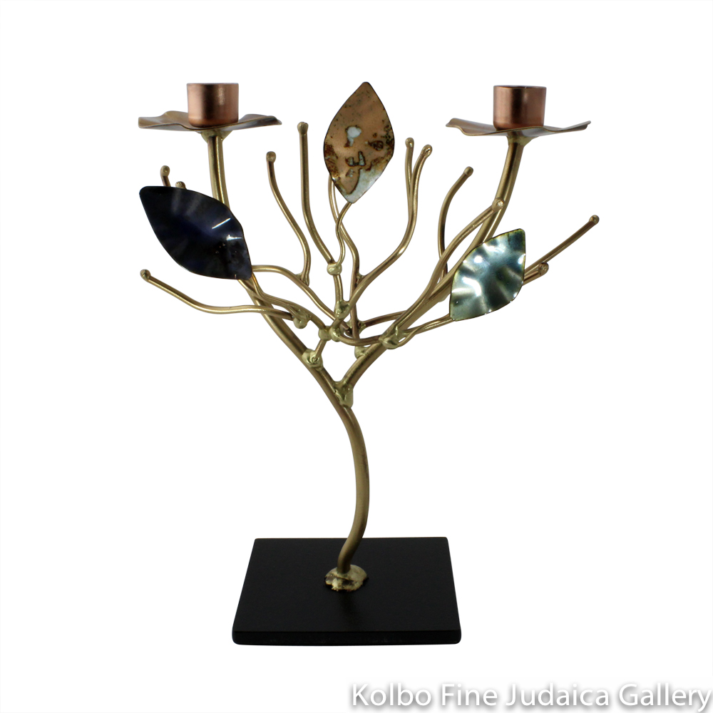 Candlesticks, Tree of Life with Enamel Leaves, Even Height, Copper and Brass