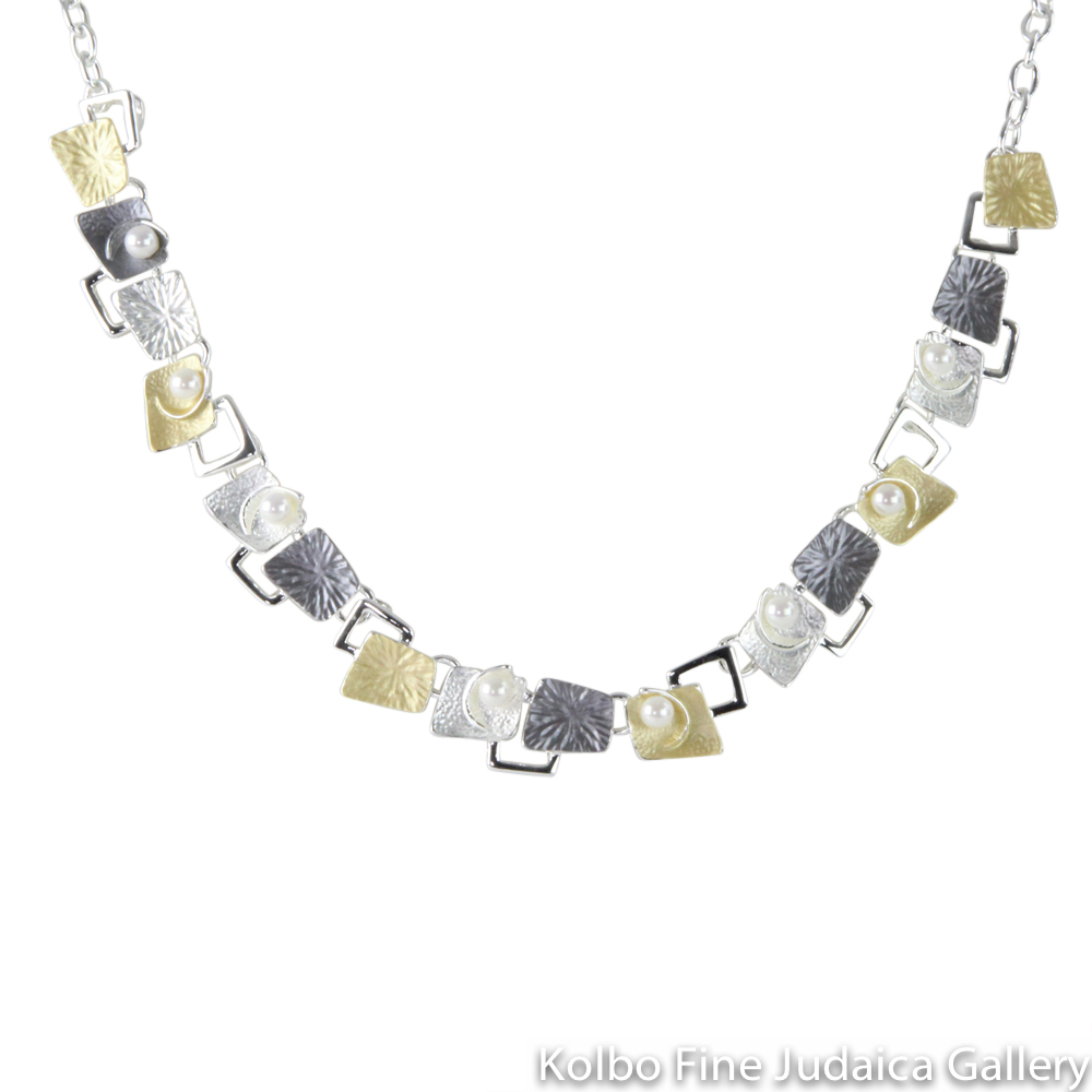 Necklace, Geometric Squared Design with Pearls, Sterling Silver and Gold Plated
