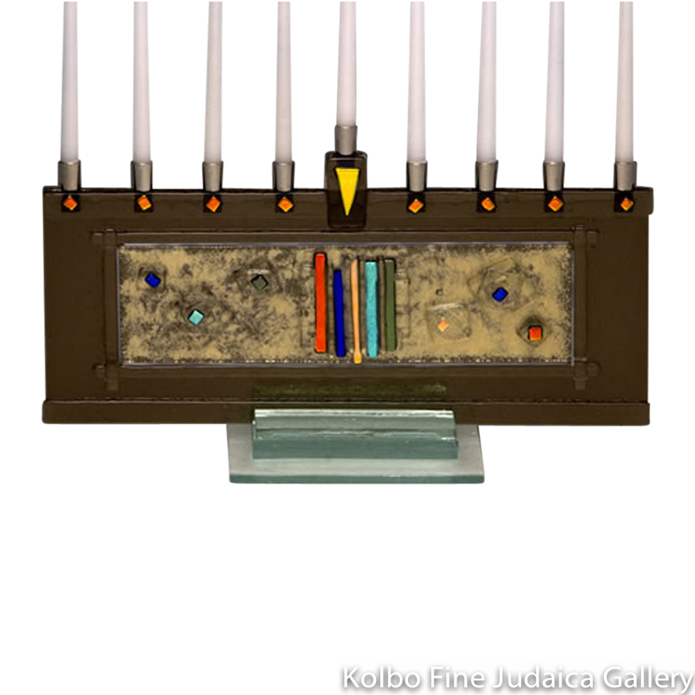 Menorah, Bronze Glass Design, Colorful Dichroic Details