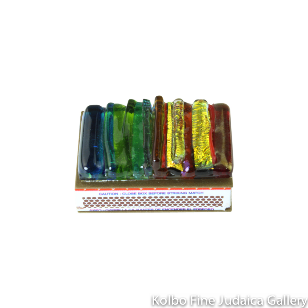 Matchbox Holder, Iridescent Icicle Design in Rainbow, Glass and Metal