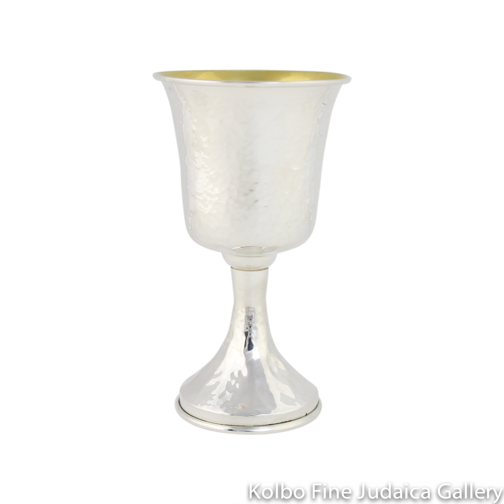 Kiddush Cup, Hammered Sterling Silver, Traditional Shape Without Filigree