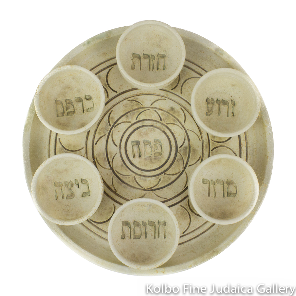 Seder Plate and Bowls, Ceramic with Matte Glaze