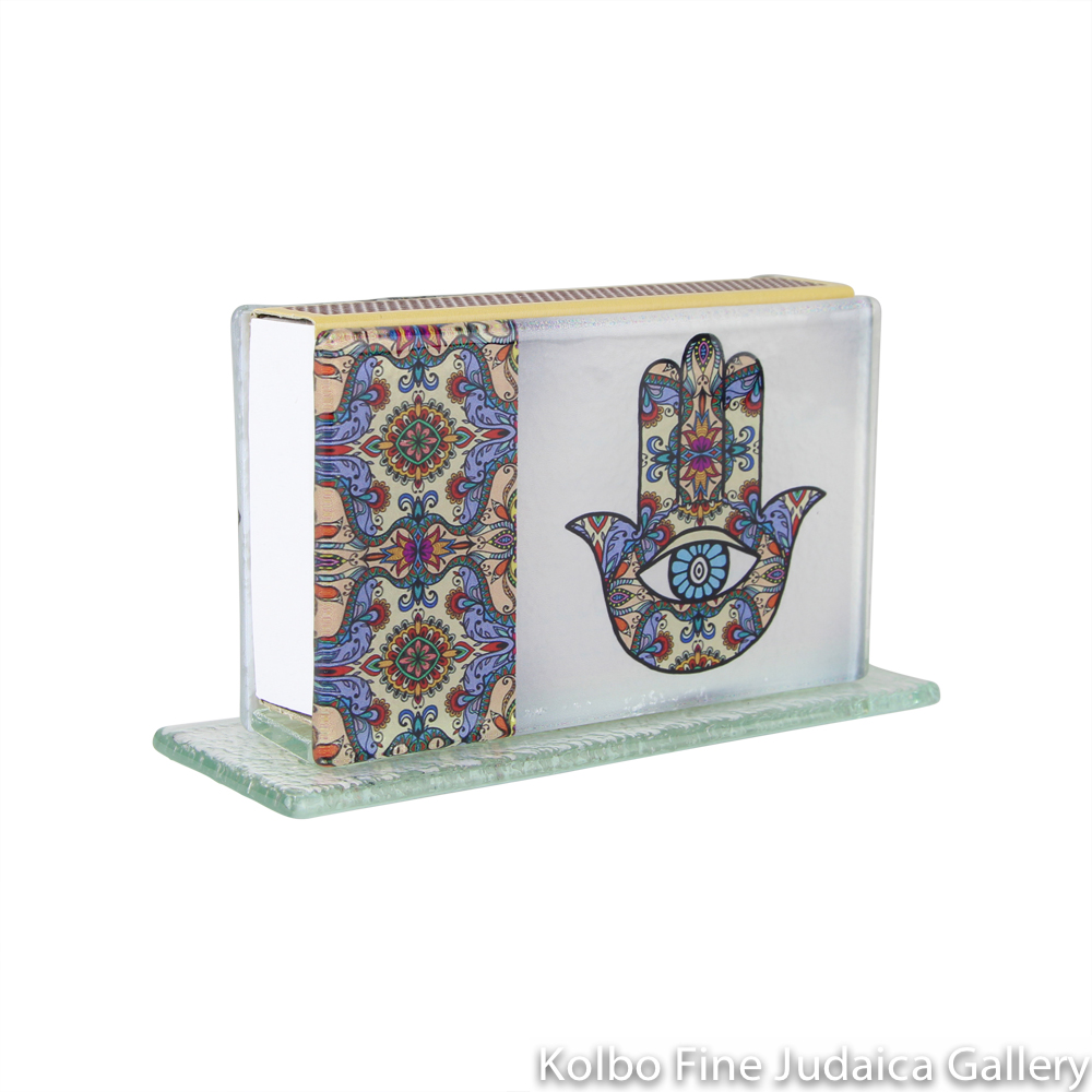 Matchbox, Multicolor Hamsa Design on Glass, Large Standing Style, Made in Israel