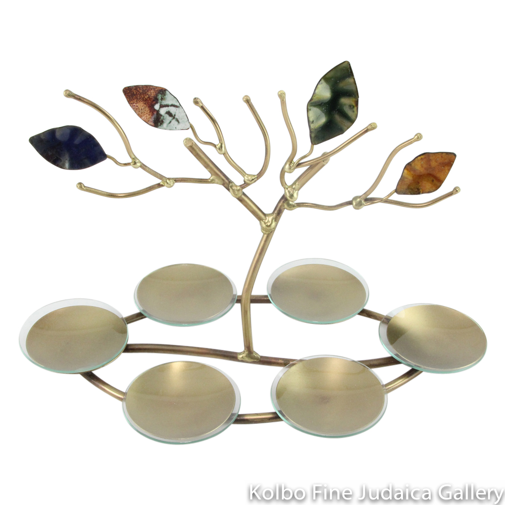 Seder Plate, Tree of Life in Center, Copper and Brass with Enamel