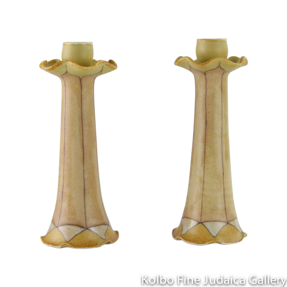 Candlesticks, Geometric Design with Yellow Background, Hand-Painted Ceramic