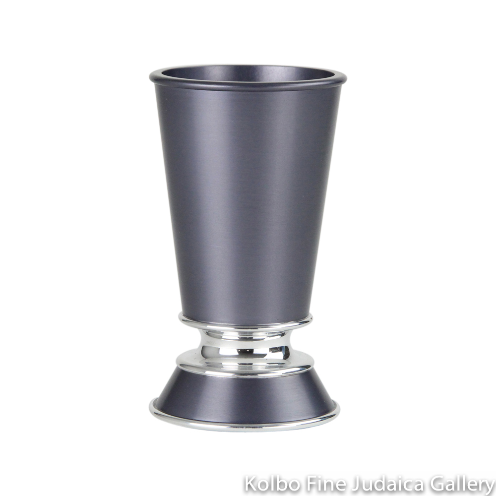 Kiddush Cup, Short Stem with Wide Base, Gray Anodized Aluminum