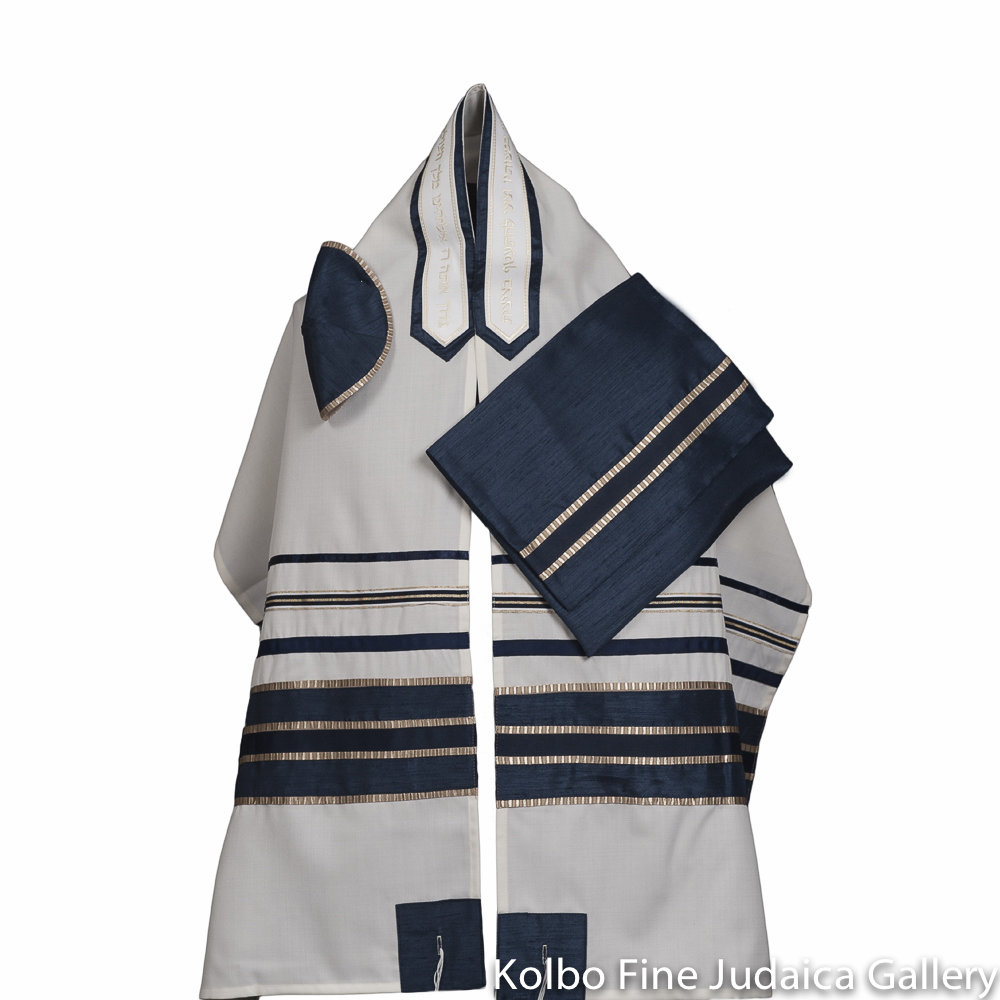Tallit Set, Blue and Gold Ribbons on Fine White Wool