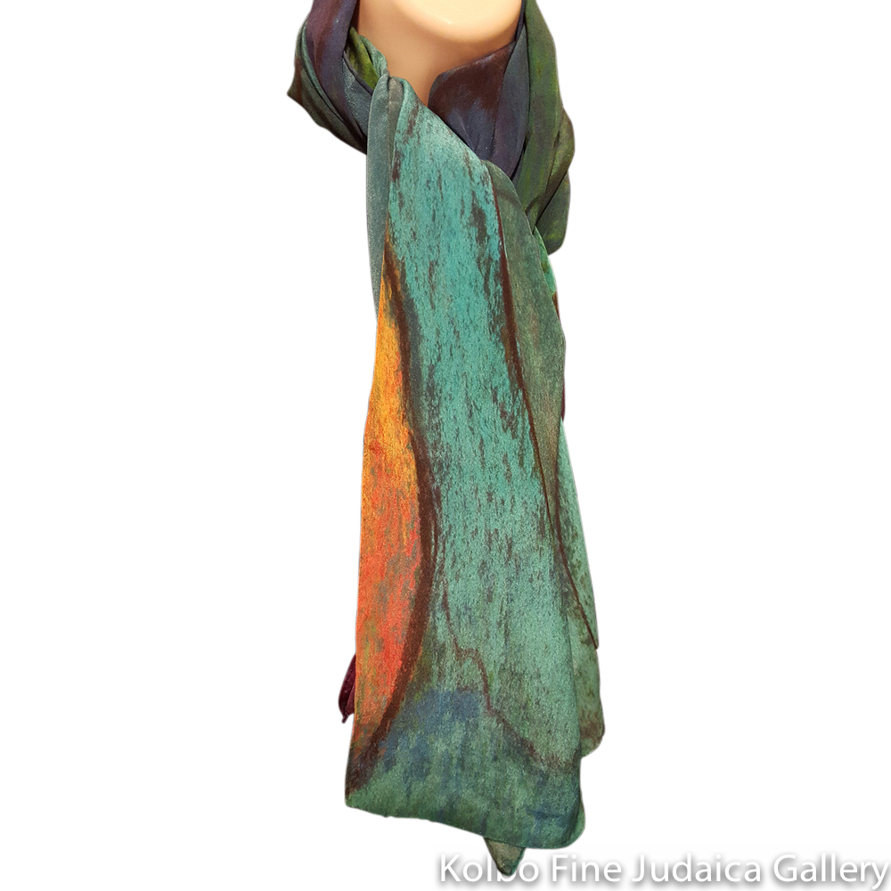 Scarf, Eve in the Garden, Design from Original Painting, Hand-Hemmed Crepe de Chinen Silk