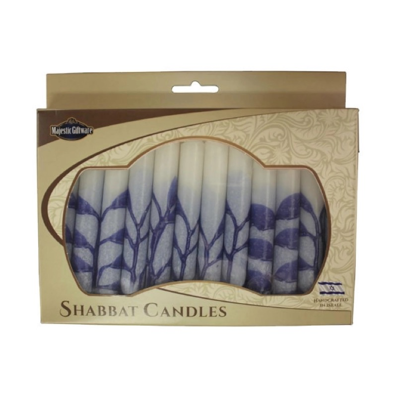 Shabbat Candles, White with Blue Detail, Box of 12, Unscented Dripless Paraffin