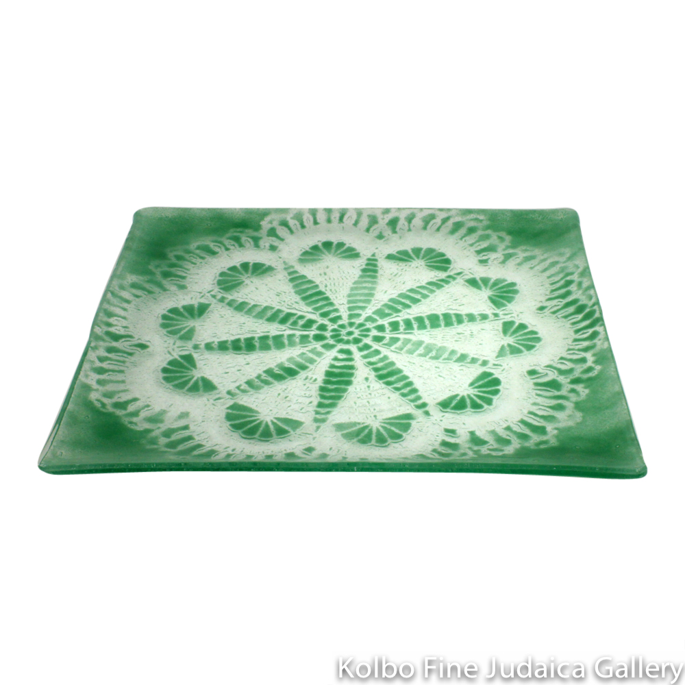 Matzah Plate, Glass, Light Green, Sand Dollar Pattern
