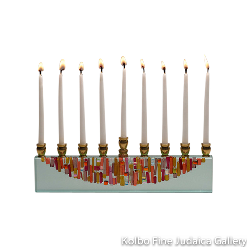 Menorah, Sunset Half Moon Design, Glass with Blush, Gold, and Ruby Icicles, Dichroic Speckles