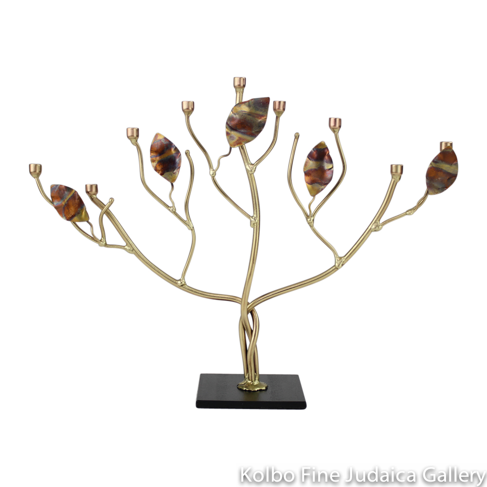 Menorah, Tree of Life with Flat Metallic Leaves, Brass and Copper