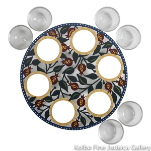 Seder Plate, Colorful Cut Out Pomegranate Design, Stainless Steel With Glass Cups