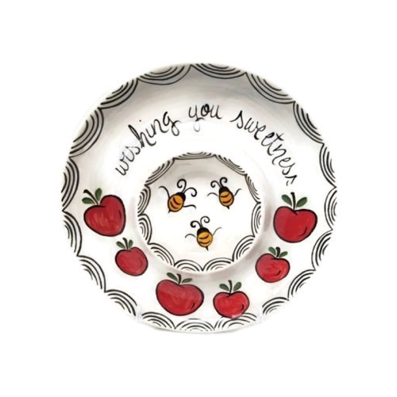Honey and Apple Set, Red Apples, Honey Bees, and Wishing You Sweetness, Painted Ceramic